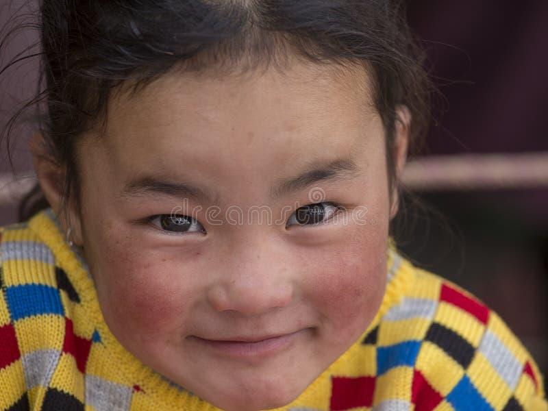 Маленькая девочка портрета тибетская буддийская в монастыре Hemis, Ladakh, северной Индии стоковая фотография