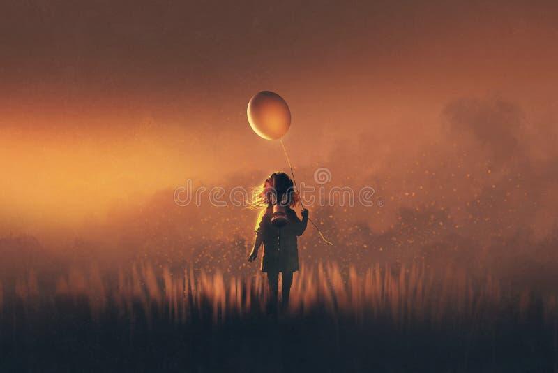 Маленькая девочка при маска противогаза держа воздушный шар стоя в полях иллюстрация вектора