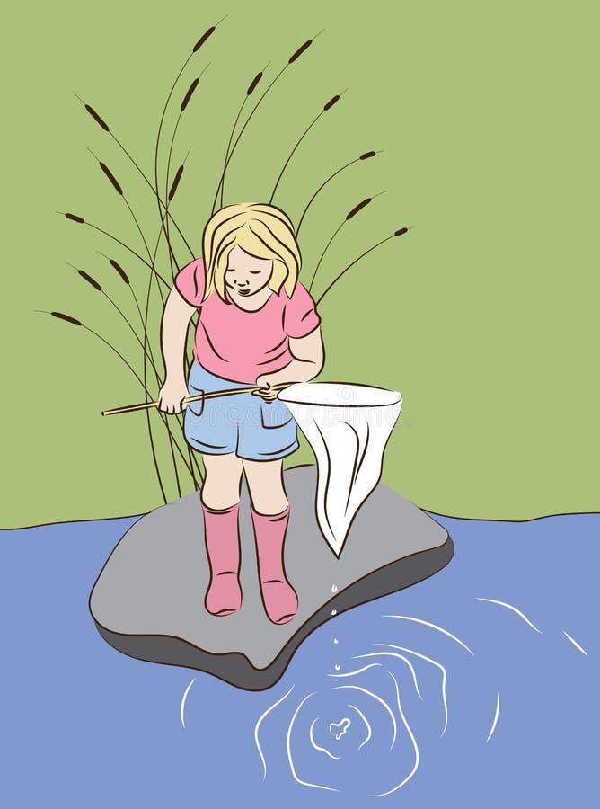 Маленькая девочка при рыболовная сеть ища что-то уловить иллюстрация вектора