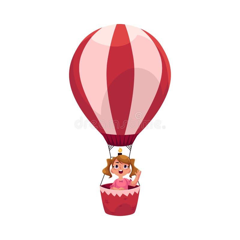 Маленькая девочка при ponytails летая в горячий воздушный шар, воздушное судно иллюстрация вектора