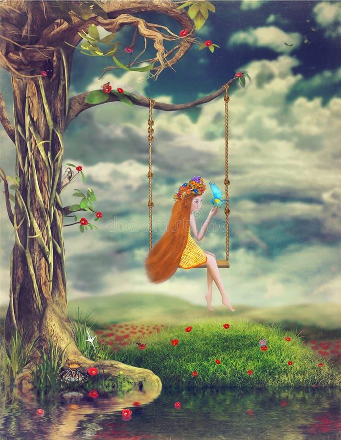 Маленькая девочка сидит на качании в лесе иллюстрация штока
