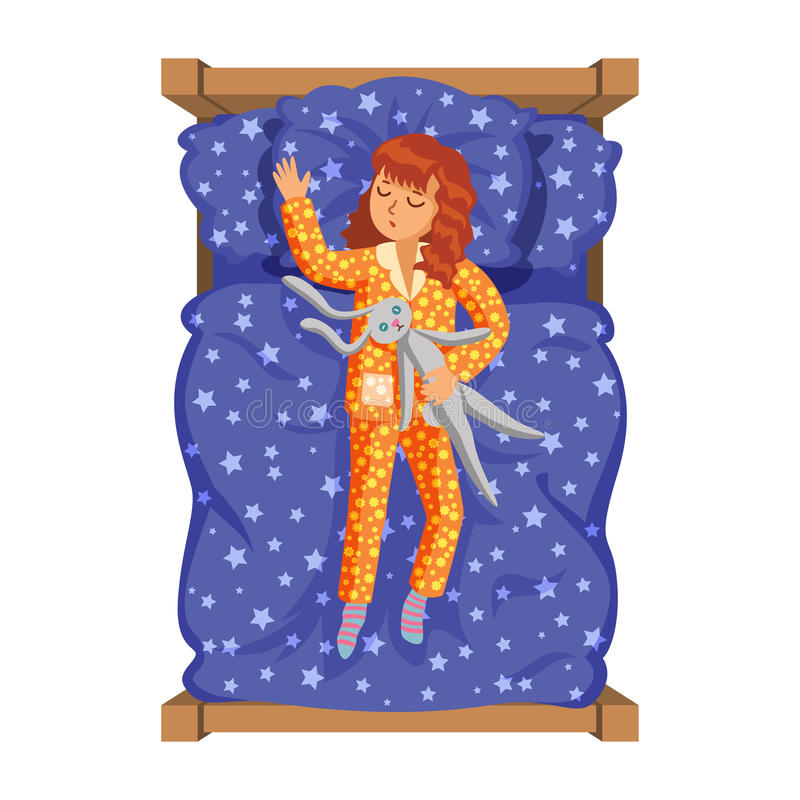 Маленькая девочка спать в ее кровати с зайчиком игрушки Деятельность при ` s ребенк иллюстрация вектора