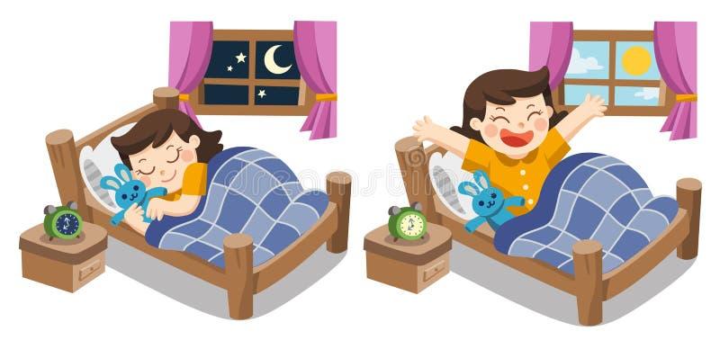 Маленькая девочка спать на сегодня вечером, мечтах спокойной ночи сладостных иллюстрация штока
