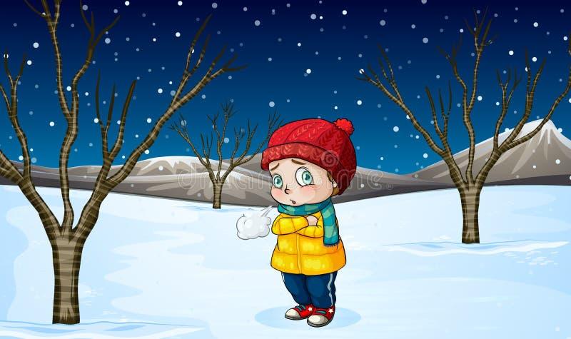 Маленькая девочка стоя вне в снеге иллюстрация штока