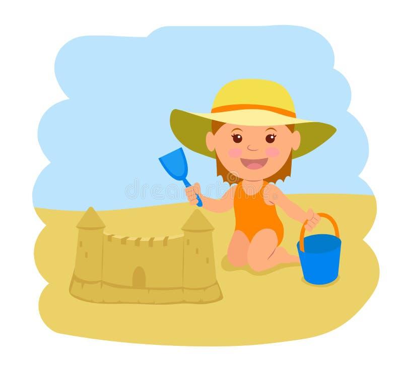 Маленькая девочка строит замок песка Иллюстрация вектора летних каникулов на море бесплатная иллюстрация