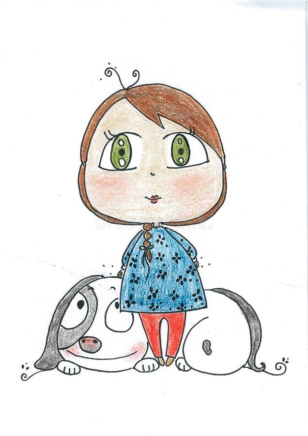 Маленькая девочка с большой собакой стоковая фотография