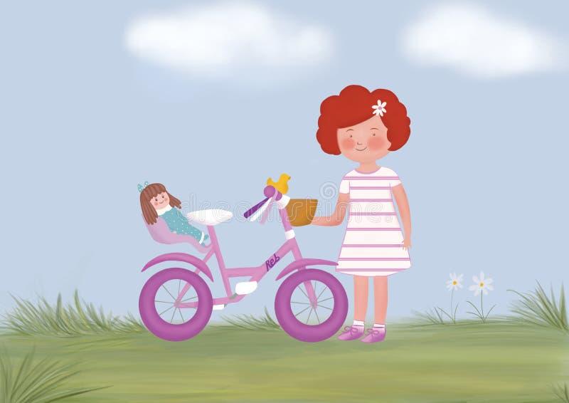 Маленькая девочка с вашим велосипедом стоковое изображение rf