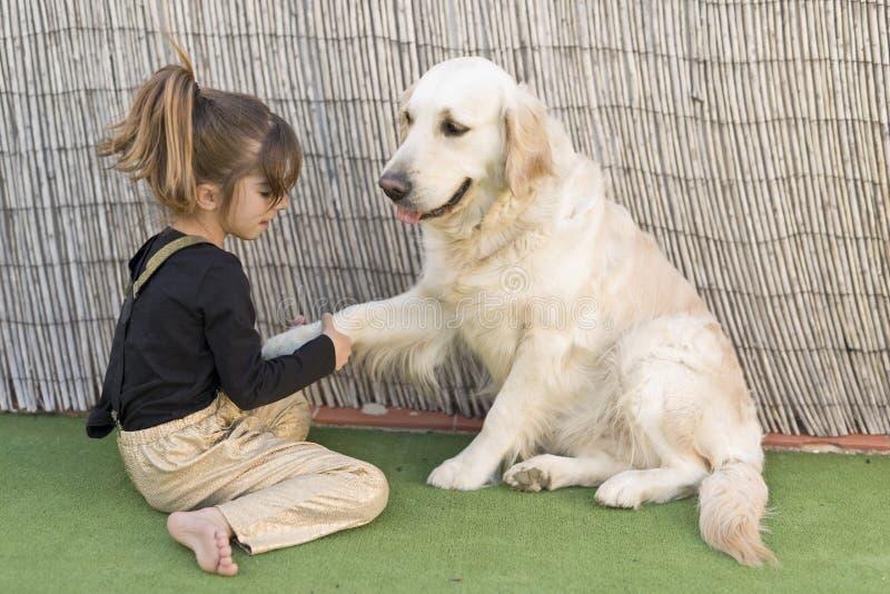 Маленькая девочка с ее собакой стоковые изображения rf