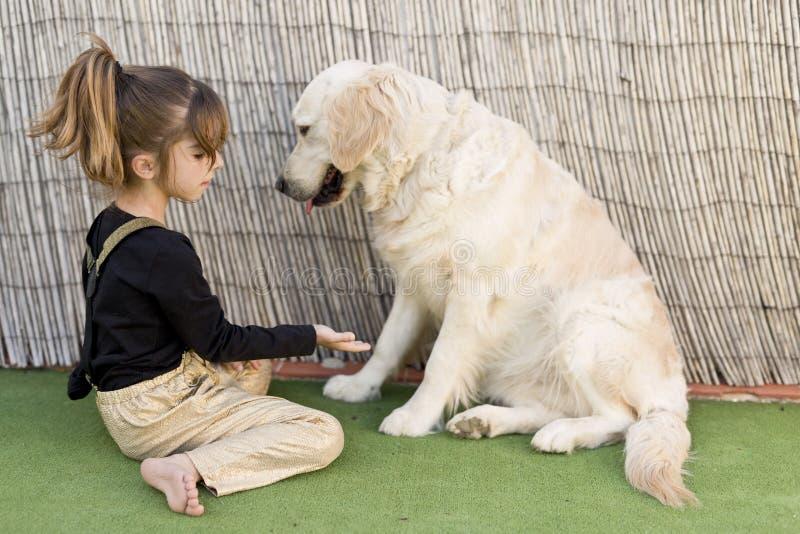 Маленькая девочка с ее собакой стоковые фото