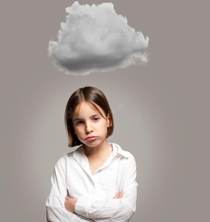 Маленькая девочка с облаком стоковое фото rf