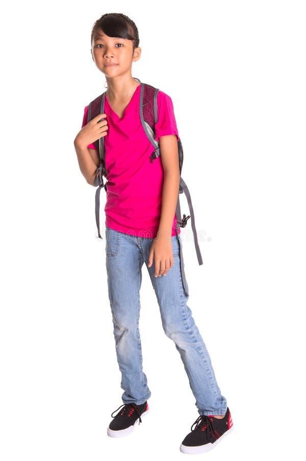 Маленькая девочка с рюкзаком III стоковое изображение