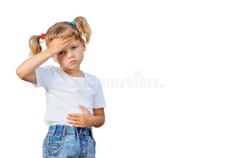 Маленькая девочка упала больной стоковые изображения rf