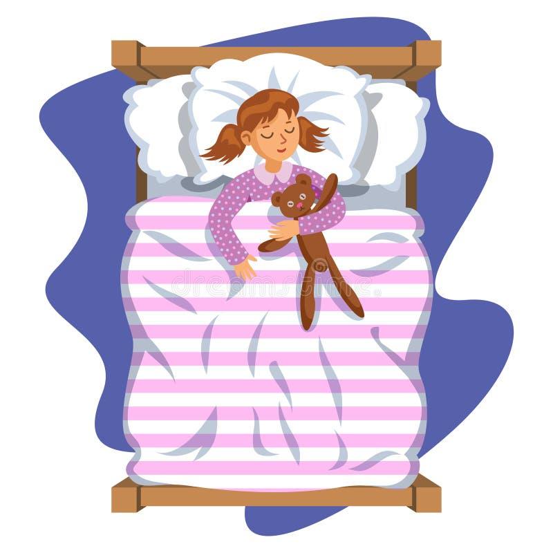 Маленькая девочка улыбки шаржа спать в кровати с плюшевым медвежонком иллюстрация штока