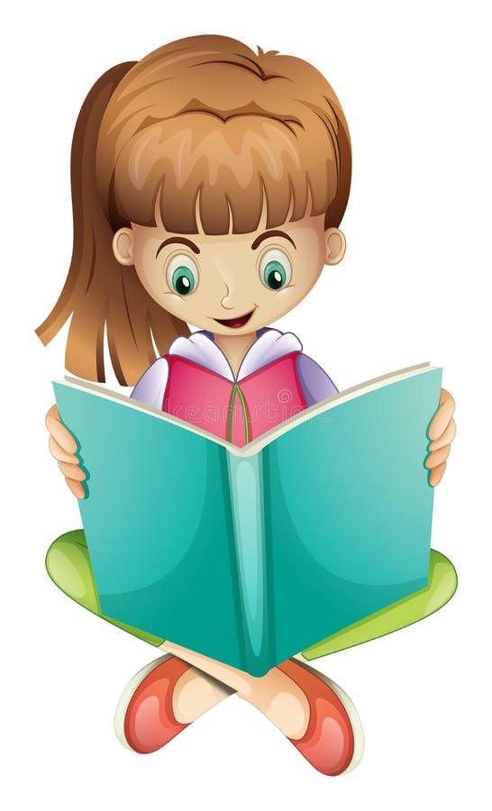 Маленькая девочка читая книгу серьезно иллюстрация штока