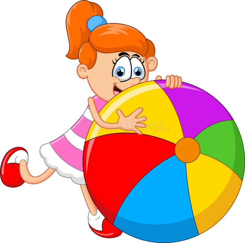Маленькая девочка шаржа держа шарик иллюстрация вектора