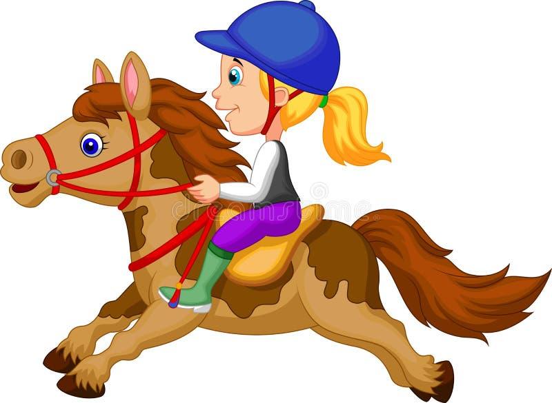 Маленькая девочка шаржа ехать лошадь пониа иллюстрация вектора