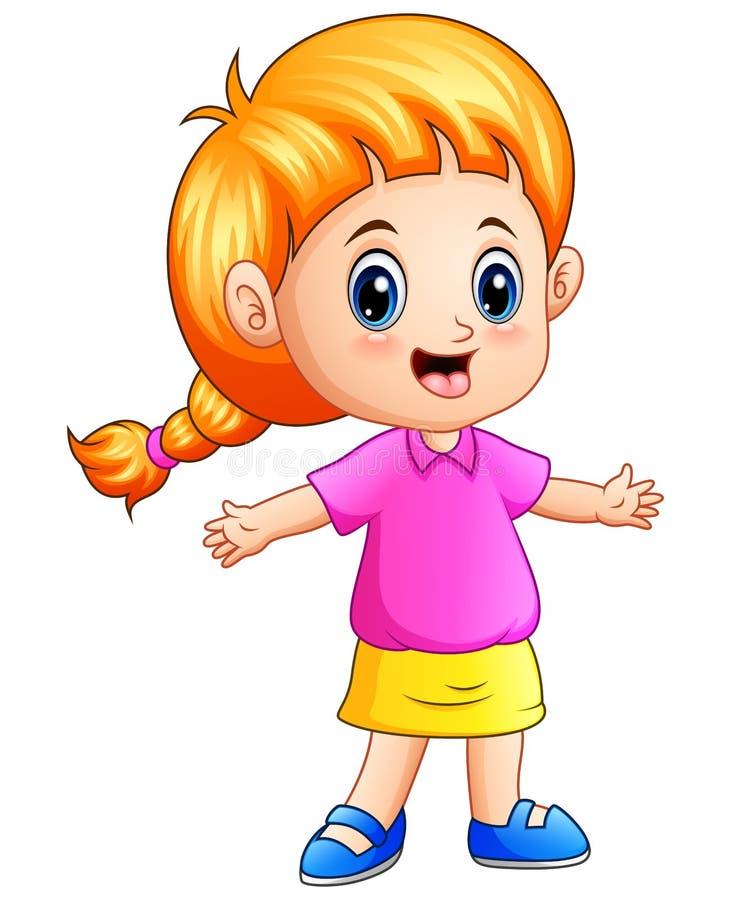 Маленькая девочка шаржа с светлыми волосами иллюстрация штока
