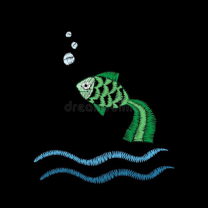 Маленькая зеленая вышивка рыб шьет имитацию изолированную на иллюстрация штока