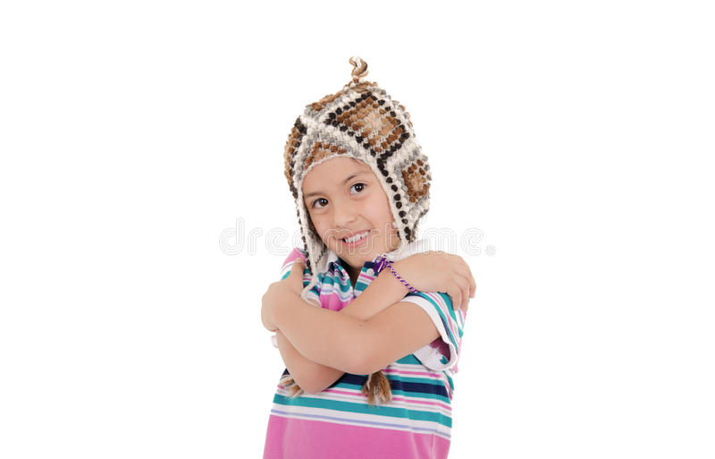 Маленькая испанская девушка с перуанской шляпой стоковая фотография rf