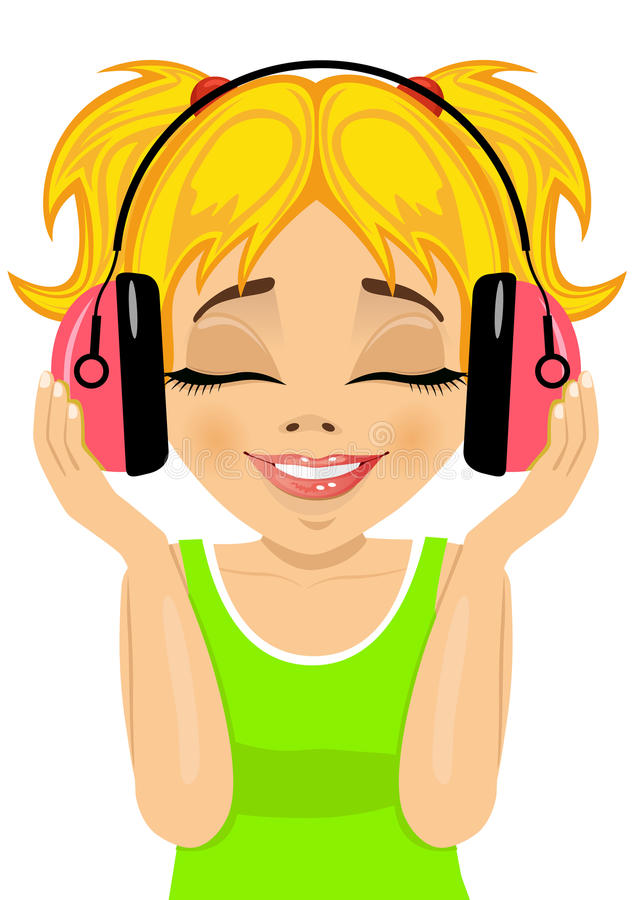 Маленькая милая белокурая девушка наслаждается слушать к музыке с наушниками бесплатная иллюстрация