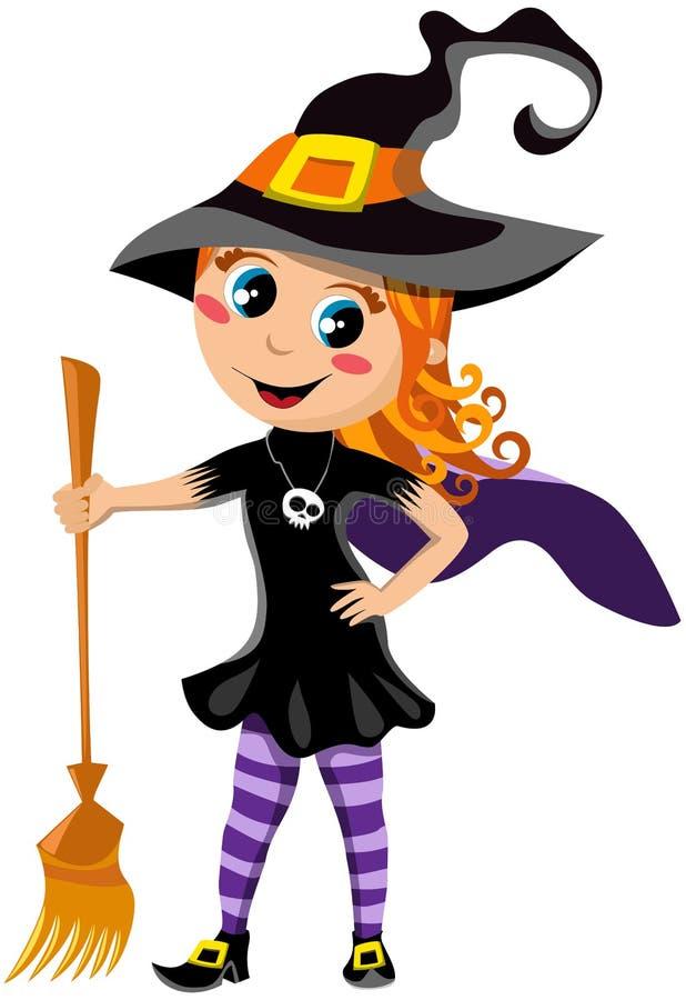 Маленькая милая девушка с костюмом ведьмы хеллоуина иллюстрация штока