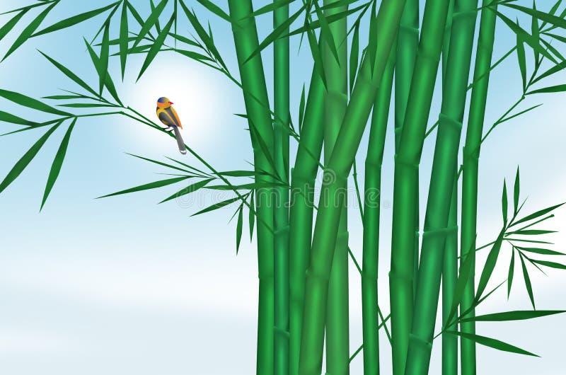 Маленькая птица на бамбуке с голубым небом иллюстрация вектора