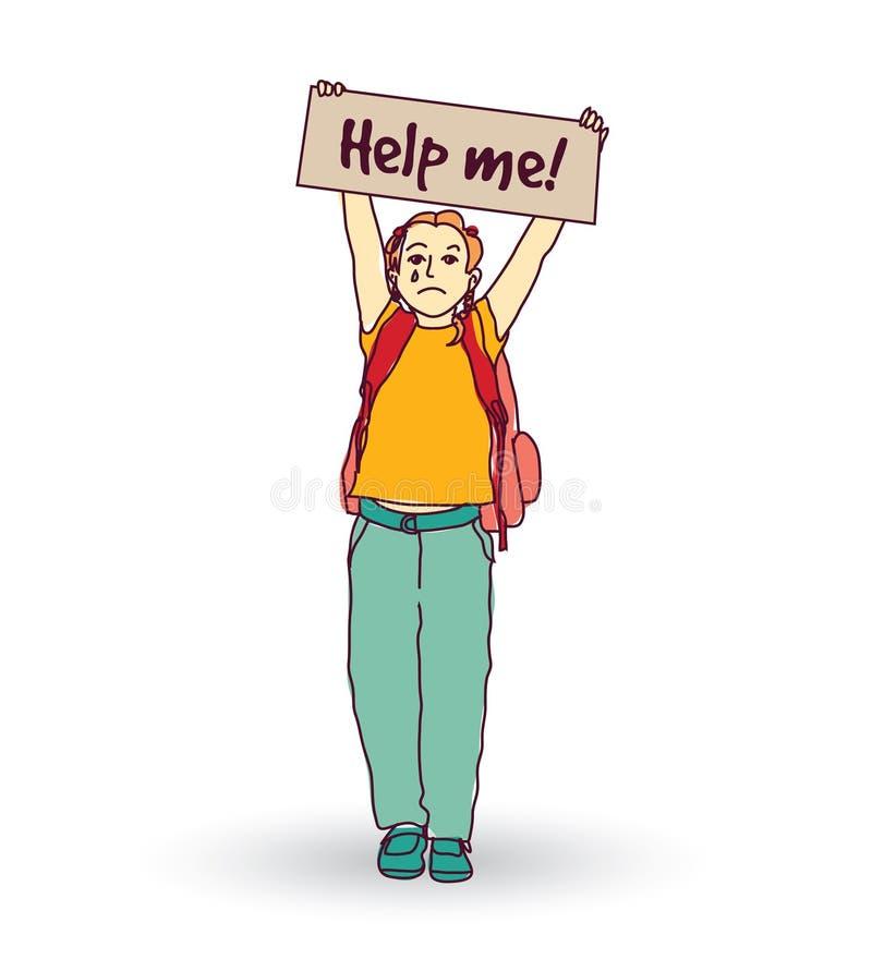 Маленькая плача девушка ребенка спрашивает помощь бесплатная иллюстрация