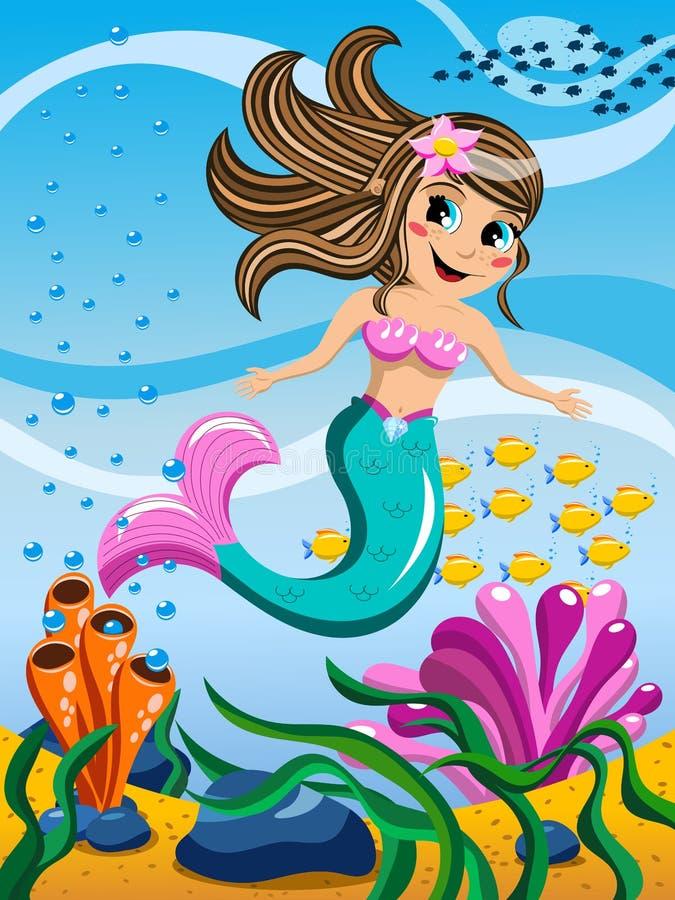 Маленькая русалка плавая под водой иллюстрация штока
