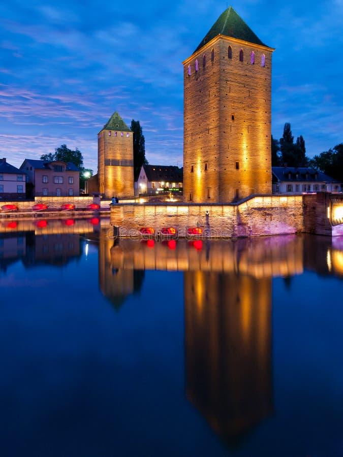 Маленькая Франция в вечере, страсбург, Франция стоковые изображения rf