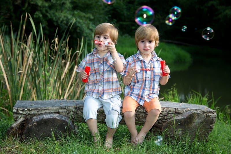 Маленькие брат-близнецы сидя на деревянной скамье и дуя пузырях мыла в парке лета стоковое изображение rf