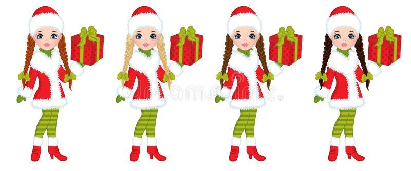 Маленькие девочки вектора красивые с подарками рождества иллюстрация штока