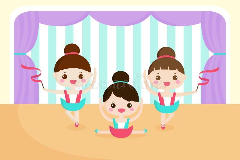 Маленькие девочки в представлении балета иллюстрация вектора