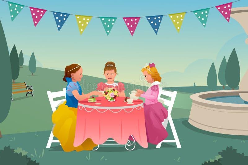 Маленькие девочки имея чаепитие иллюстрация вектора