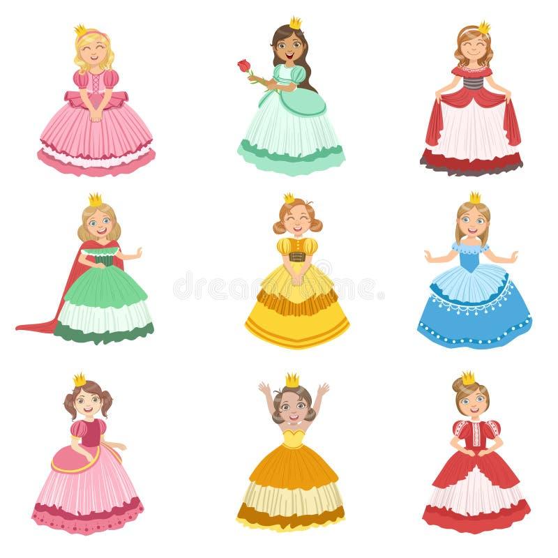 Маленькие девочки одетые как принцессы сказки иллюстрация штока