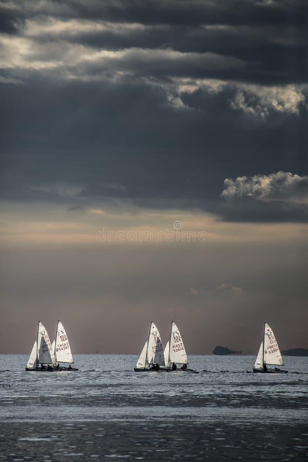 Маленькие лодки на водах garda стоковое фото rf