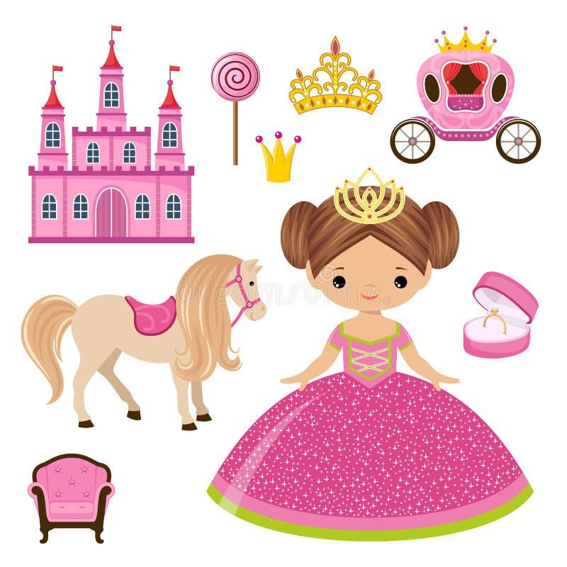 Маленькие принцесса, замок и экипаж бесплатная иллюстрация