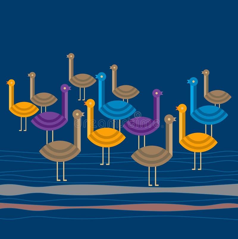 Маленькие птицы в голубой предпосылке бесплатная иллюстрация