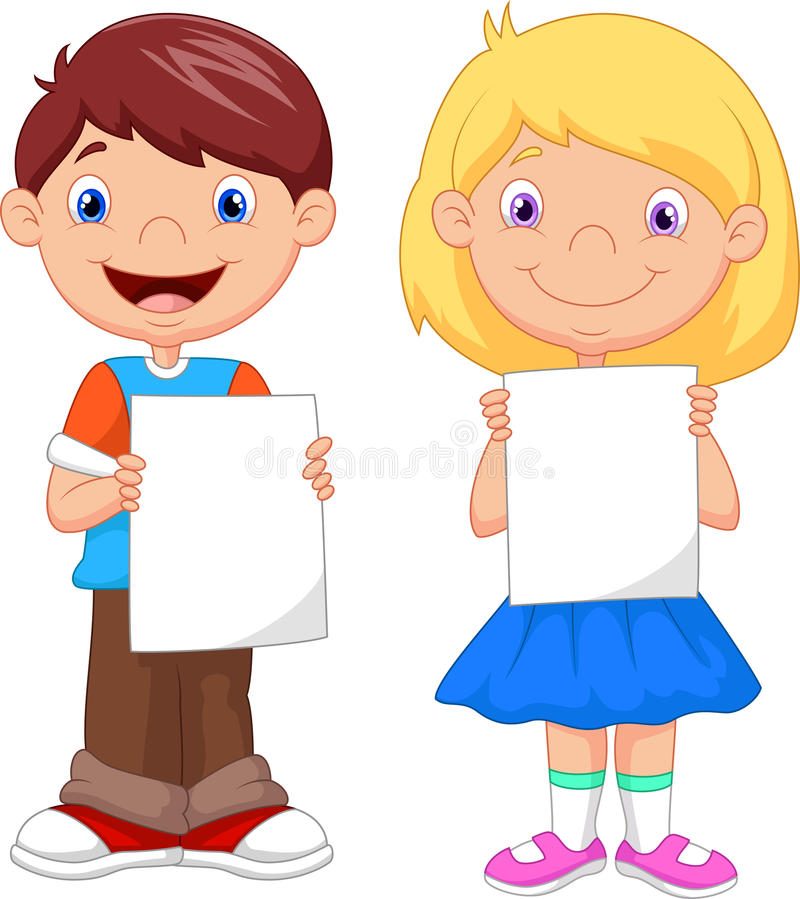 Маленькие ребеята держа чистый лист бумаги иллюстрация штока