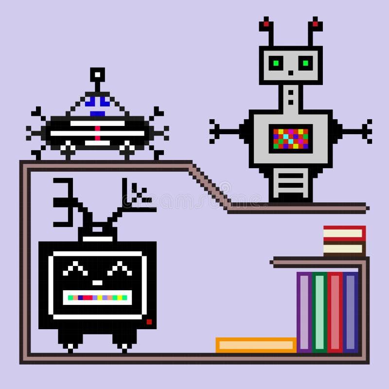 Маленькие роботы на полке с книгами иллюстрация вектора