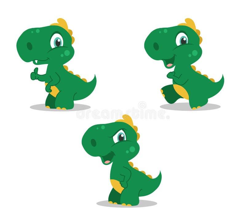 Маленькие смешные динозавры иллюстрация вектора