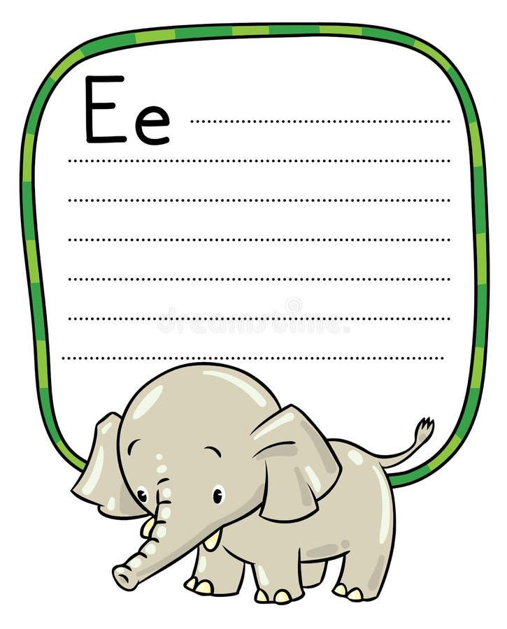 Маленькие смешные слон или громоздк Алфавит e иллюстрация вектора