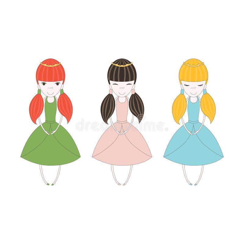 Маленькие тройни принцессы иллюстрация штока