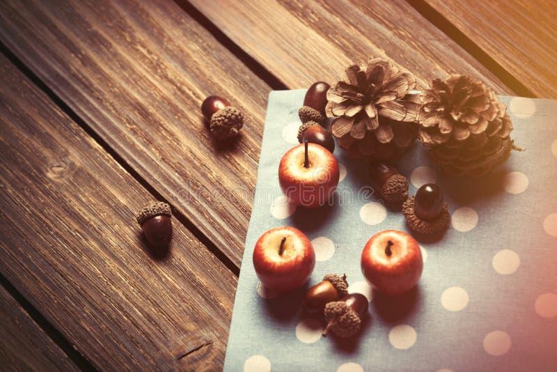 Маленькие яблоки и конусы сосны стоковая фотография rf