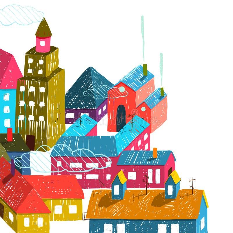 Маленький город или город с иллюстрацией крыш домов бесплатная иллюстрация