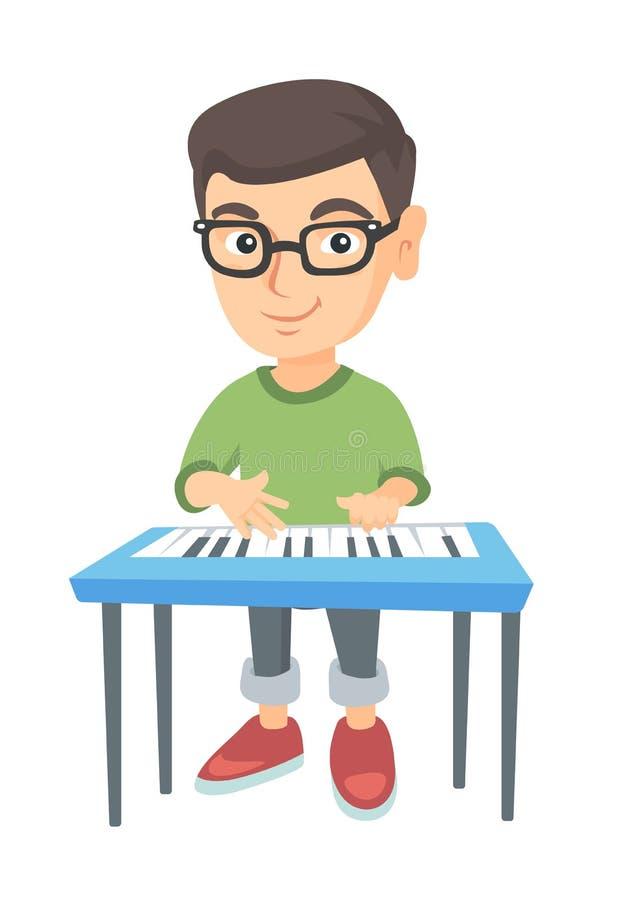 Маленький кавказский мальчик играя рояль иллюстрация вектора