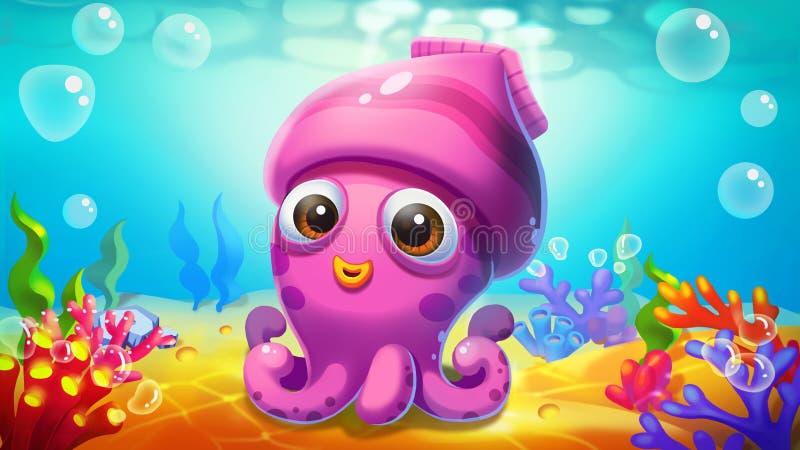 Маленький кальмар в море! иллюстрация вектора
