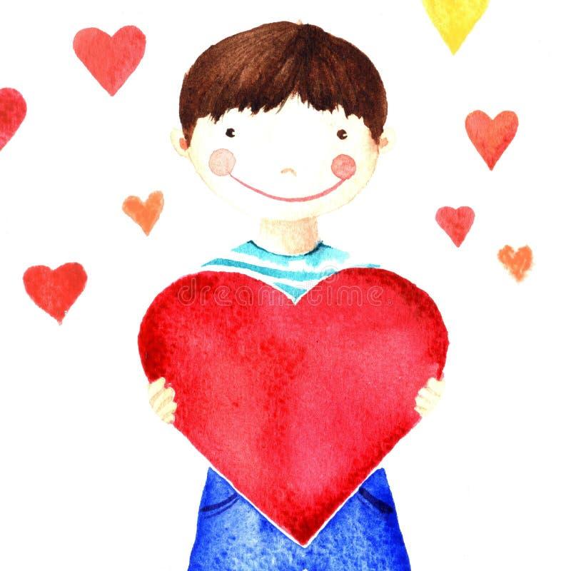 Маленький милый усмехаясь мальчик держа большое красное сердце в его руках призрение Изолированный чертеж акварели иллюстрация вектора