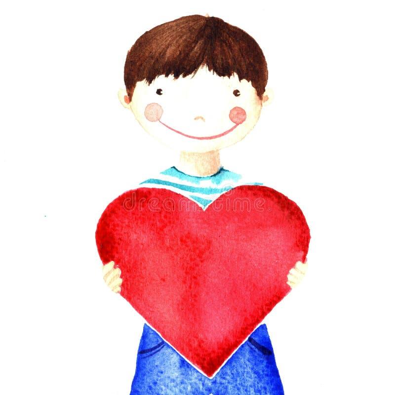 Маленький милый усмехаясь мальчик держа большое красное сердце в его руках призрение Изолированный чертеж акварели бесплатная иллюстрация