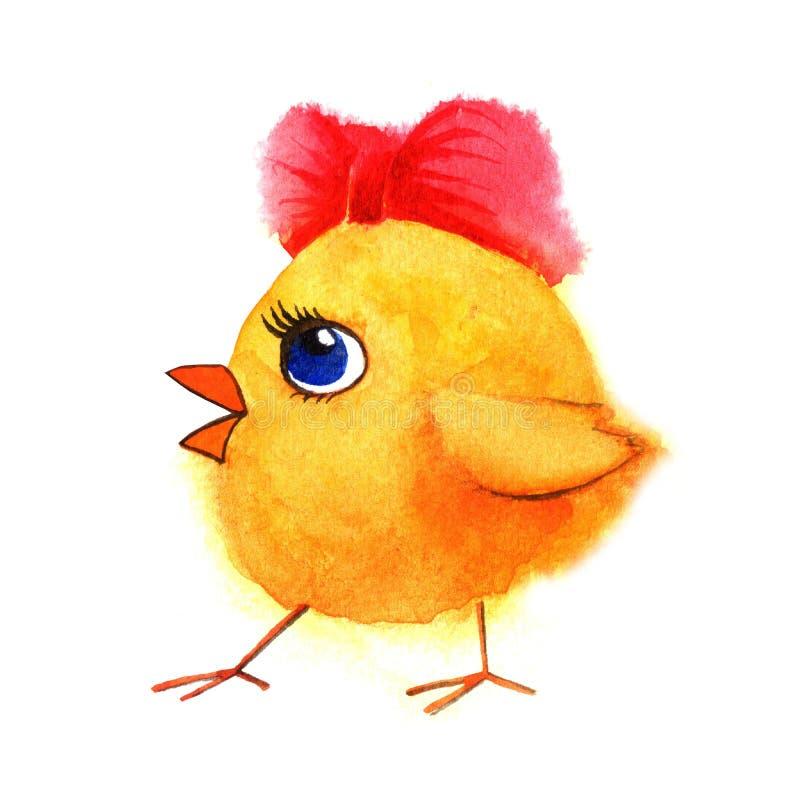 Маленький милый цыпленок с красным смычком Иллюстрация акварели покрашенная рукой иллюстрация вектора