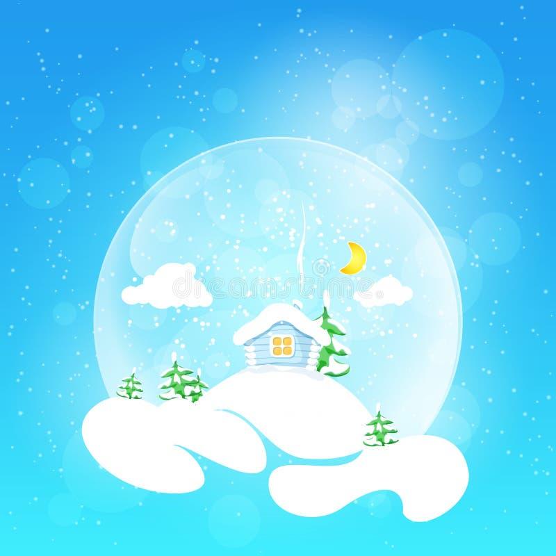 Маленький дом с луной и елью, иллюстрацией вектора бесплатная иллюстрация